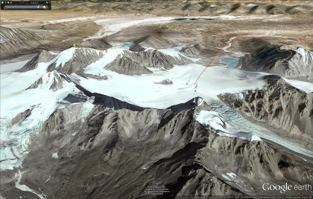 Спутниковое изображение водораздельной точки – горы Канглунг Кангри (6,235 м) с южного направления