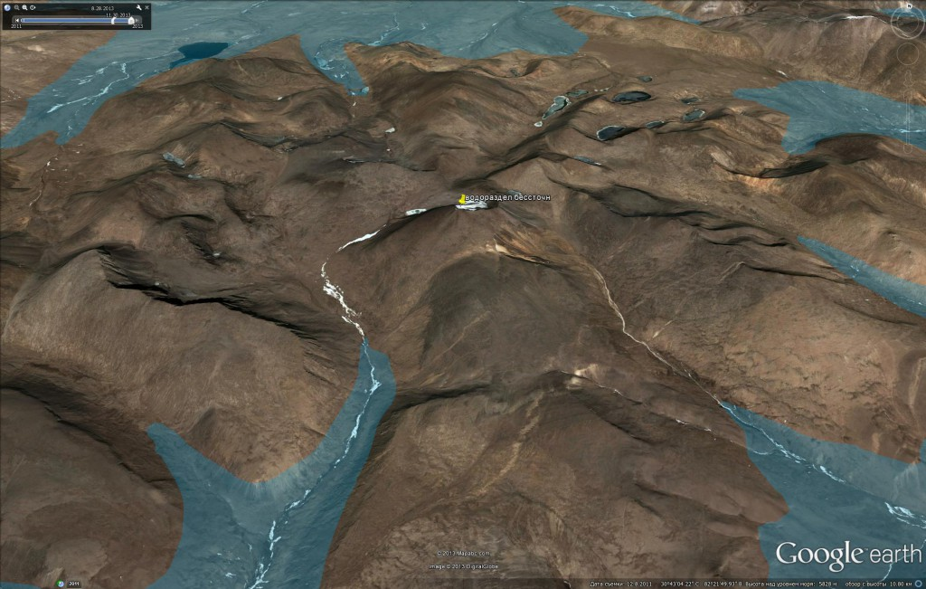 Спутниковое изображение водораздельной точки бассейнов рек Брахмапутра и Сатледж с бессточной областью