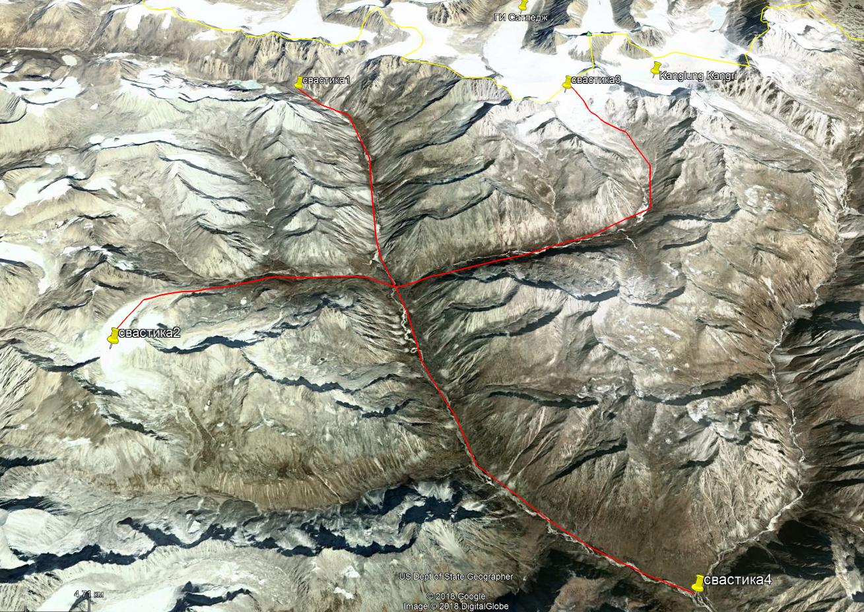 Спутниковое изображение горного района к югу от горы Канглунг Кангри в регионе Кайласа