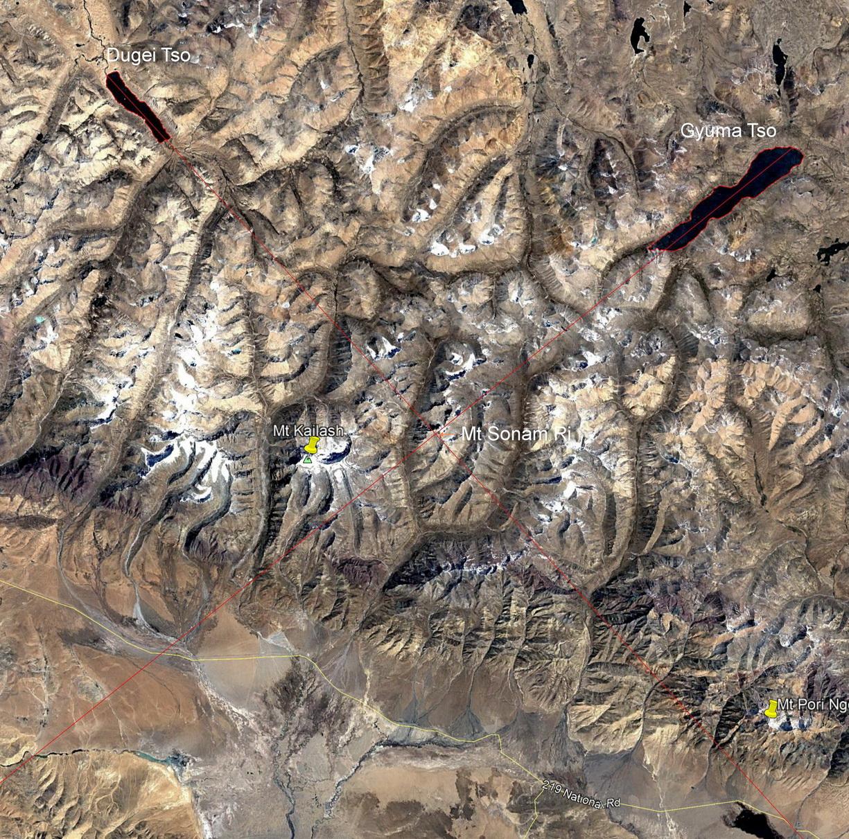 Спутниковое изображение региона Кайласа